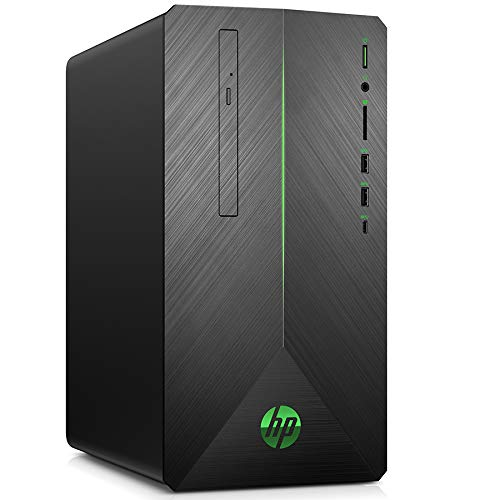 HP Pavilion 690-0505ng Gaming Desktop PC (Intel Core i7-8700, 128GB SSD, 1TB HDD, 16GB DDR4, AMD Radeon RX 580 8GB DDR5, Windows 10) schwarz / grün