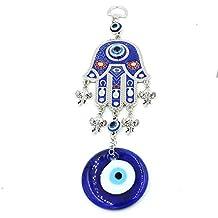 Turco azul mal de ojo mano de Fátima coche colgante de pared decoración adorno, metal, Blue04, 26cm*10cm