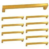 10 Stück Goldenwarm Goldene Griff Feststehend Dusche Möbelgriffe Lochabstand 160mm LSJ12GD160 Antike Schrankgriffe Stangengriff Küchengriff