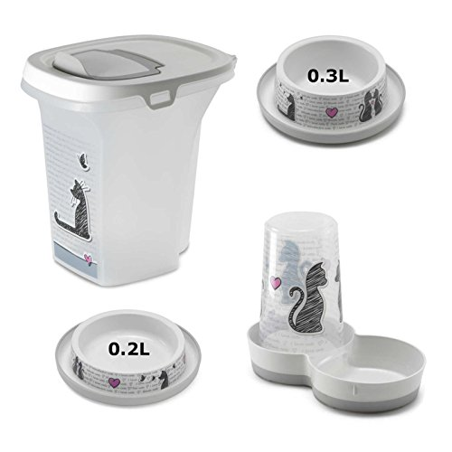 Cat Dinner Set Feeder + Storage Box + 0.2L Bowl + 0.3L Bowl From Cats in Love Collection