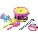 TOYMYTOY Los juguetes del instrumento de música de la roca del bebé de 5pcs juega el sistema, tambor del rodillo, Bell de mano, altavoz, 2 Maracas