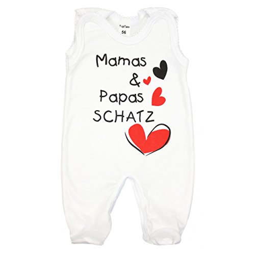 Baby Strampler mit Spruch Mamas & Papas SCHATZ 100% Baumwolle Junge Babystrampler Mädchen Strampelanzug / Made in EU, Farbe: Weiß - Mamas Papas Schatz, Größe: 68