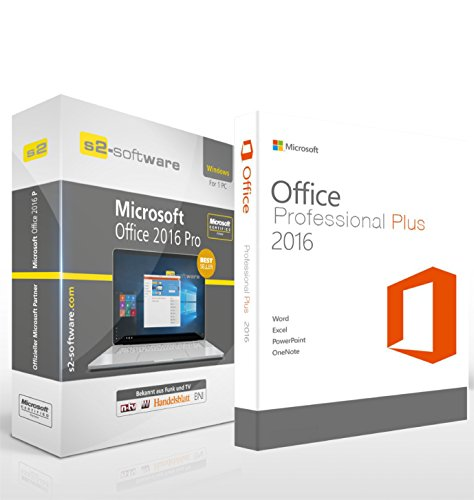 Microsoft® Office 2016 PRO (Professional Plus) DVD mit original Lizenz. S2 Software-Box. Papiere & Zertifikate. Alle Sprachen 32 & 64bit (Software Os)