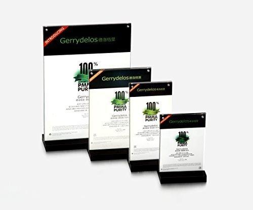 Tavolo-contenitori in acrilico (PMMA) con base in acrilico nero Supporto T-form Display tavolo cartello pubblicitario scudo tavolo nome prezzo scudo, trasparente, 105x148 mm (A6)