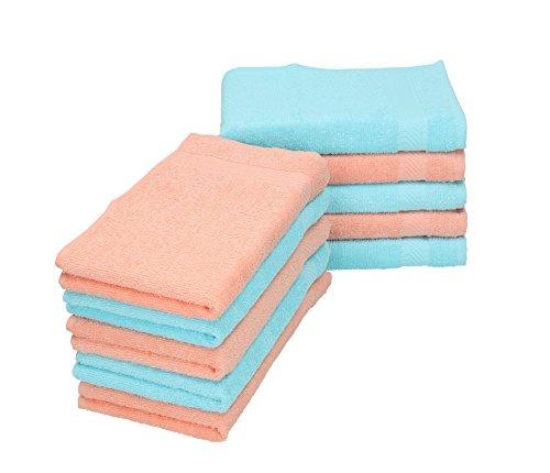 BETZ Lot de 10 serviettes débarbouillettes PALERMO taille 30x30 cm couleurs turquoise & abricot