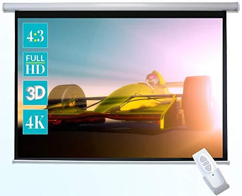 celexon Basic elektrische Beamer-Motor-Leinwand optimal für Heimkino, Präsentation, Schule und Business inkl. Fernbedienung - 200 x 150cm - 4:3