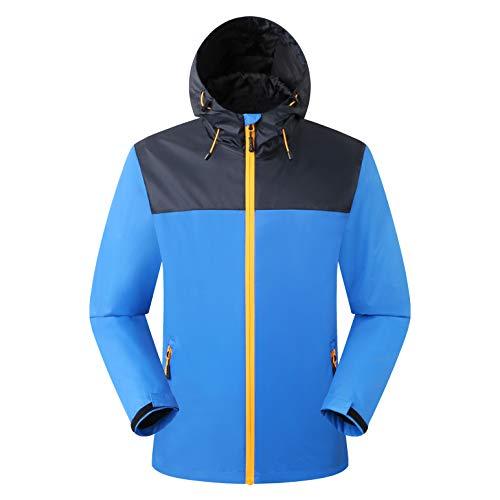 Eono Essentials - Chaqueta impermeable para hombre con capucha fija (azul victoria, S)|Chaqueta invierno hombre