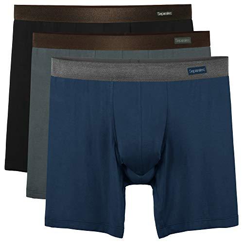 Separatec Herren Basic Boxershorts Separate Beutel weiche atmungsaktive Trunks Unterhose, 3er Pack (M(Taille 80-89cm), Lange Beine: Schwarz+dunkelgrau+dunkelblau)