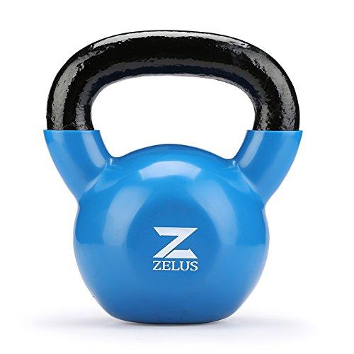 Zelus kettlebell oscillante in ghisa con rivestimento in vinile ideale per allenamento di forza a casa per manubri muscle building (blu 14kg)