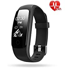Lintelek ZDUK-107+HR-BK, Lintelek Activity Tracker, Waterproof Fitness Tracker with Heart Rate Monitor, Step Counter Watch, 14 Sports Mode, Connected GPS, Relax, Stopwatch, Bluetooth Pedometer for Android phone and iOS (Sports & Outdoors)