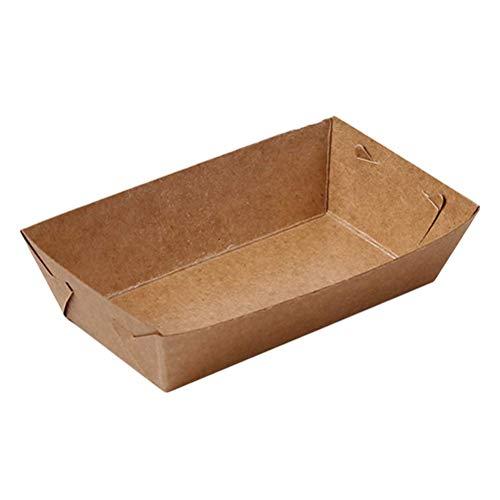 Amosfun Einweg Papier Essen Serviertablett Kraftpapier Beschichtung Boot Form Snack Öffnen Box Französisch Frites Huhn Hot Dog Box für Party Supplies 50 STÜCKE