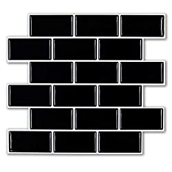FAM STICKTILES Self Adhesive Tile Stickers, Peel and Stick Tiles Backsplash for Kitchen, Stick on Tile, Wall Stickers Black 11