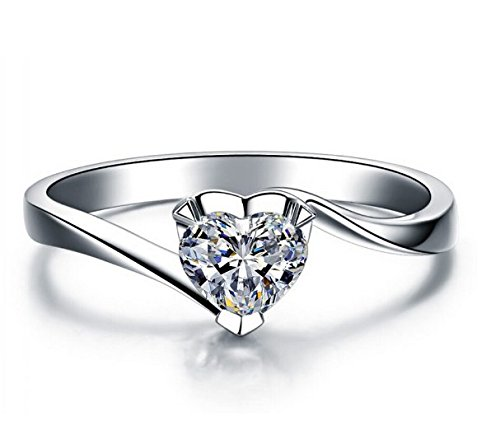 GirlZ! Silver Platinum plated Romantic Heart CZ Diamond Engagement Ring For Women