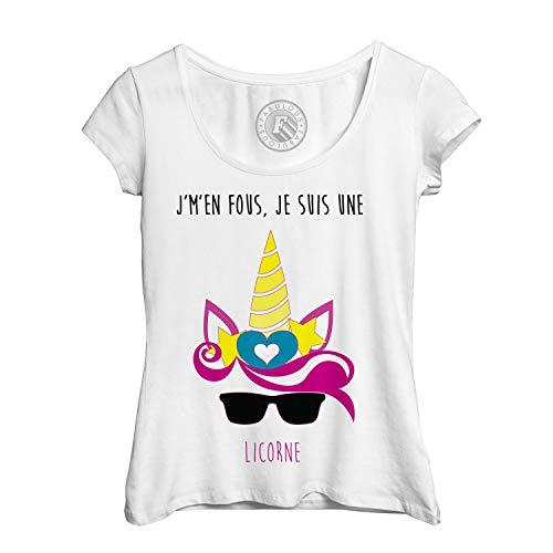 Frauen T-Shirt Ich kümmere Mich Nicht, ich Bin EIN Einhorn Zeichnung Horn-Ohren und Sonnenbrille Fantastische Tiere