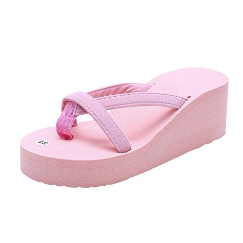 FNKDOR Damen Sommer Keilabsatz Zehentrenner Plateau Flip Flop Strand Sandalen Schuhe Pantoletten (36.5, Pink) Blush Satin Schuhe
