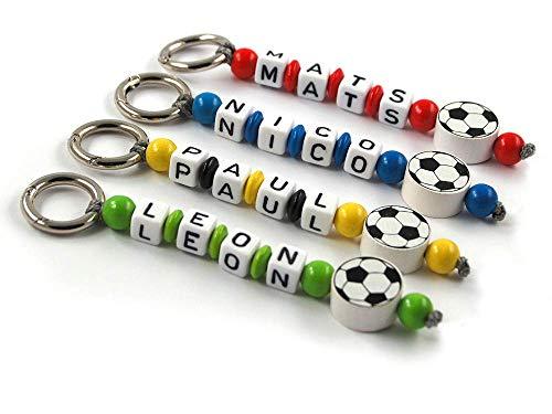 Schlüsselanhänger mit Namen - handmade - Kinder - Erwachsene - Taschenbaumler - Fußball - Schlüsselring - verschiedene Farben - Schlüsselanhänger mit Gravur
