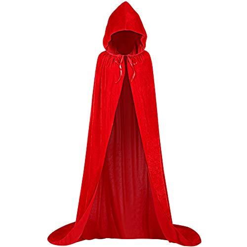 KONVINIT Lange Umhang mit Kapuze Erwachsener Schwarz Cape aus Samt für Weihnachten Halloween Vampir Kostüm Party (Einfache Vampir Kostüm Männer)
