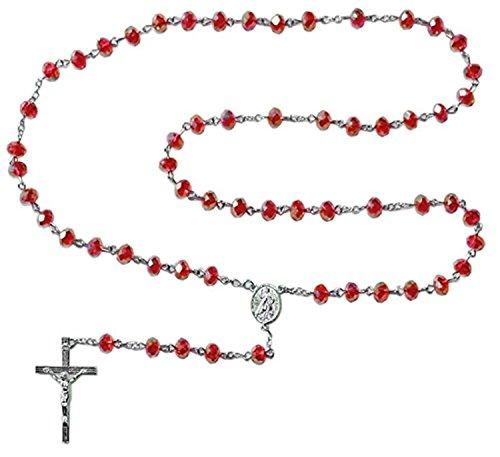 schenkidee - Rosenkranz für Damen und Herren mit Kreuz Anhänger Marienbild und Glas Perlen Farbe Rot (Länge 74 cm) ()
