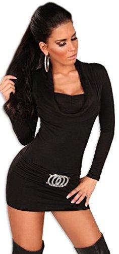 leid & Pullover mit Ausschnitt in Wasserfalloptik, schwarz Größe 36 38 40 (Mädchen Disco Kleid)