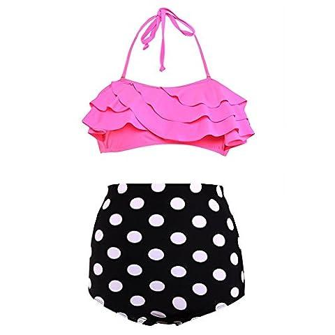 Erica Femmes Plus Size Halter Bikinis Flouncing dentelle taille haute Polka Dots Deux pièces Set Swimsuit sans fil Soutien-gorge rembourré , rose red , s