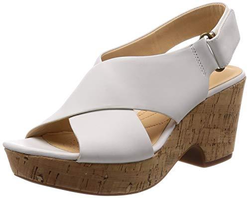 Clarks Maritsa Lara, Sandali con Cinturino alla Caviglia Donna, Bianco (White Leather -), 37 EU