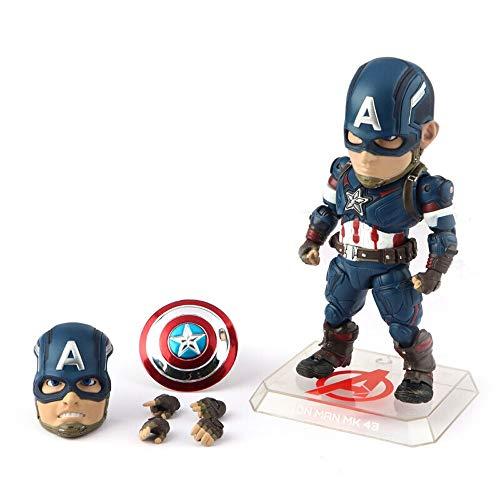 XMGJ Modell Marvel Captain America Modell Puppen Avengers 4 Handspielzeug Superheld Schild Puppe, 17cm Statuen