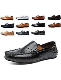 8ec193ccc987a AARDIMI Mocasines Hombres Zapatos de Vestir Casuales Holgazanes Slip On  Verano Plano Cuero Zapatos de Conducción Zapatillas 38-47…
