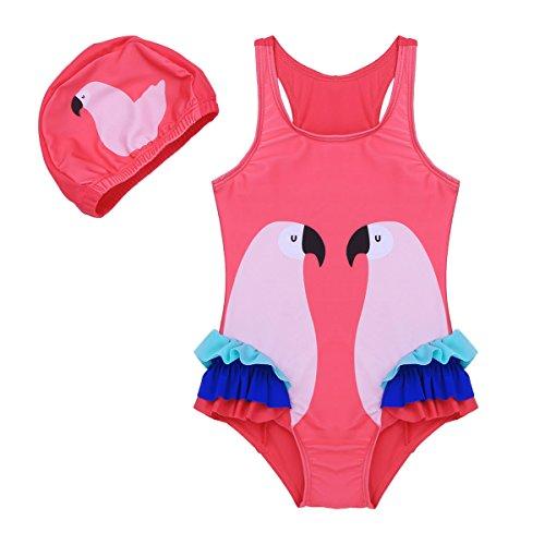 Ranrann Traje de Baño Una Pieza con Gorro para Niña Bañador Impresión de Flamingo Monokini Body...