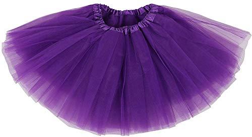 Ruiuzi Damen Tütü Rock Minirock 4 Lagen Petticoat Tanzkleid Dehnbaren Mini Skater Tutu Rock Erwachsene Ballettrock Tüllrock für Party Halloween Kostüme Tanzen (Lila) (Halloween-kostüm Rock Lila)