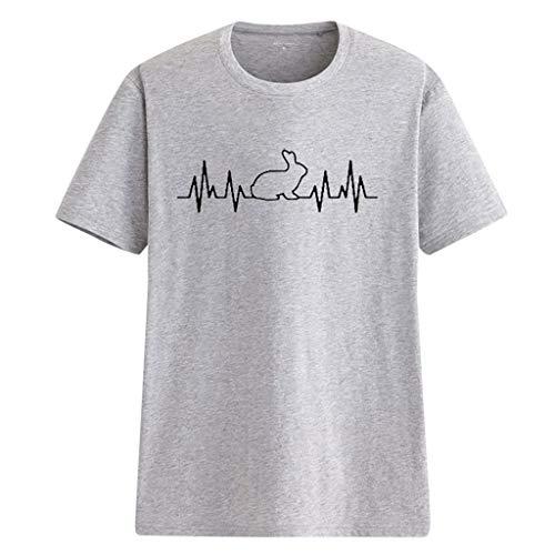 TOPSELD T Shirt Damen, Frauen Kaninchen Herz Form Gedruckt Lose BeiläUfige Kurze HüLsen T-Shirts Tops Bluse