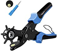 Leather Hole Puncher Hole Punch Tool Belt Hole Punch Pliers Measuring Ruler Screwdriver Cut-Off Material Removal awl Rotary