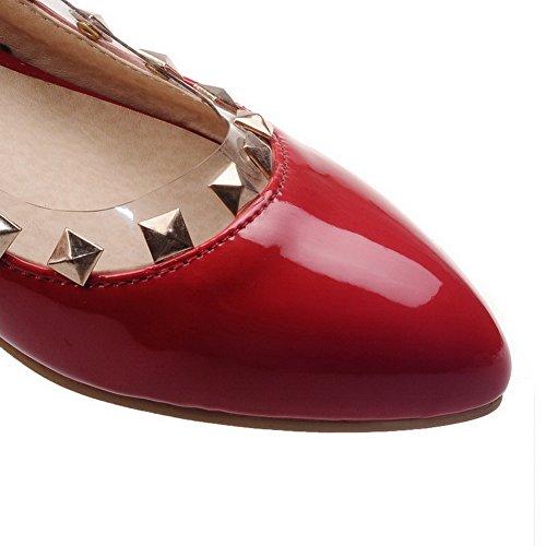 VogueZone009 Femme Mosaïque Pu Cuir à Talon Bas Pointu Tire Chaussures Légeres Rouge