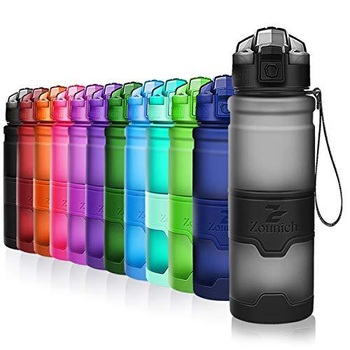 ZOUNICH Trinkflasche Sport BPA frei Kunststoff Sporttrinkflaschen für Kinder Schule, Joggen, Fahrrad, öffnen mit Einer Hand Trinkflaschen Filter, Grau, 25oz/700ml