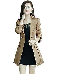 YOUJIA Damen Lapel Winterjacke Wintermantel Schnüren Slim Fit Zweireihig Mantel  Jacke Trenchcoat mit Gürtel a6d864f74b