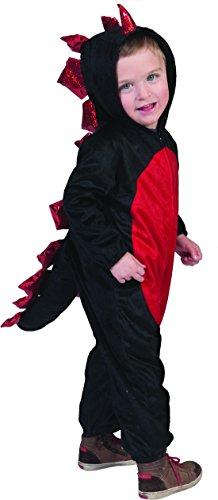 Faschingsfete - Kinder Kleinkind Drachen Kostüm - Jumpsuit Einteiler mit Kapuze- Outdoor geeignet, 92-98, 2-3 Jahre, Mehrfarbig (Hexe Flamme Besen)