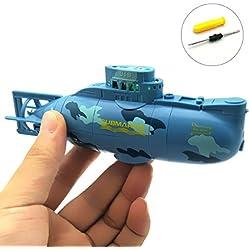 WOSKY Mini RC Juguete Eléctrico del Barco de Control Remoto del Barco Submarino Impermeable del Salto de Agua de Regalo Para Niños - Azul