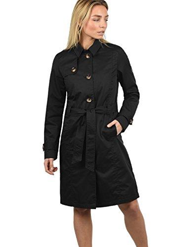 DESIRES Thea Damen Trenchcoat Mantel lange Jacke mit Gürtel und Umlege-Kragen aus hochwertiger Materialqualität, Größe:XL, Farbe:Black (9000)