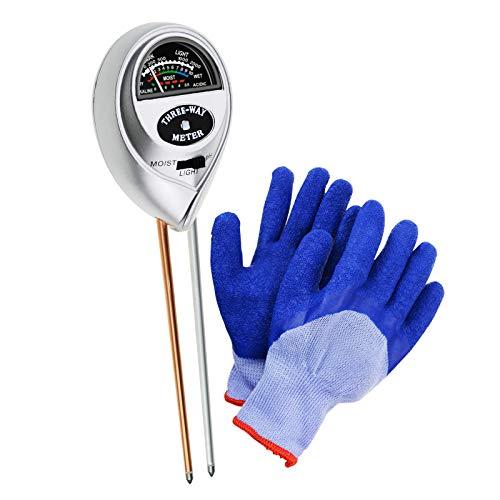 Bodentester, Boden-pH-Meter 3-in-1-Bodentest-Kit Meter Plant Tester (Keine Batterie erforderlich) mit freien Handschuhen Digital-batterie-tester-kit