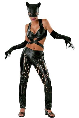 (Catwoman Comic Deluxe Kostüm Damen 4 teilig Leggings Top Maske Handschuhe - M)