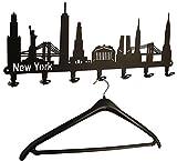 Wandgarderobe New York Skyline - USA Flurgarderobe 58 cm - Kleiderhaken, Hakenleiste, Garderobeneiste, Garderobenhalter, Garderobe - Metall, schwarz