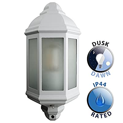 Traditional White Aluminium And Frosted Glass Panel Outdoor Garden Porch Wall Mounted Lantern IP44 Light - inexpensive UK light store.