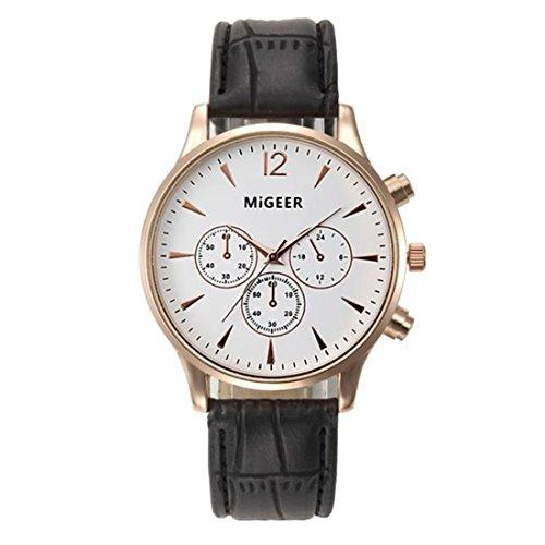 Longra Reloje ☀Moda de cuero de cocodrilo Faux cuero para hombre reloj analógico relojes