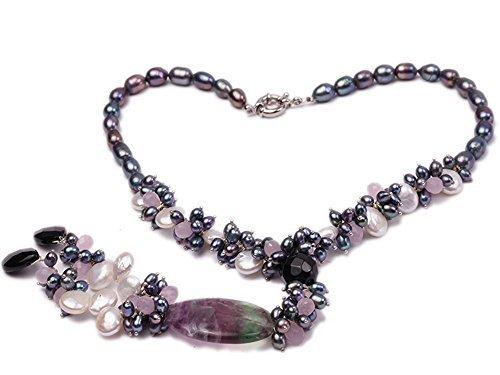 jyx schwarz Reis Süßwasser Perle mit Rosenquarz Halskette Pearl Achat und Fluorit - Perle-perlen-halsketten-bulk