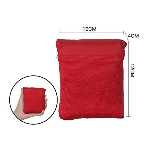 Ultraleicht Picknickdecke, Life&Tech Wasserdichte Campingdecke Outdoor Picknickdecke und Stranddecke Pocket Picknick Decken Matte mit Tasche(Rot, 180×150CM) (Boot-200g)
