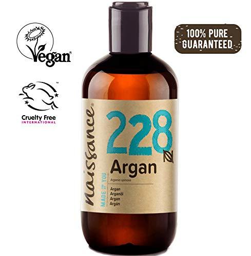 Naissance Aceite Vegetal de Argán de Marruecos n. º 228 - 250ml - Puro, natural, vegano, sin hexano y no OGM - Hidratación natural para el rostro, el cabello, la barba y las cutículas.