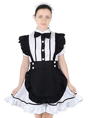 CoolChange Weißes Maid Cosplay Kostüm mit Schürze Größe: L (Dienstmädchen Kostüm Japan)