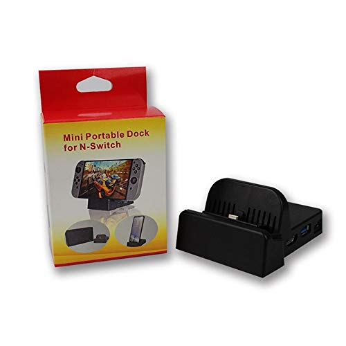 Lesiey Mini Portable Dock TV Basis für N-Switch für Samsung S8 / Plus Cooling Base mit PCB Mainboard LED-Anzeige Spring Buffer - Schwarz