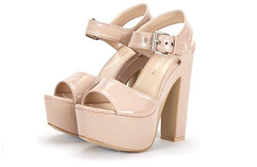 Donna Block tacco alto piattaforma caviglia cinghia sandali scarpe, multicolore (Nude Patent), 39