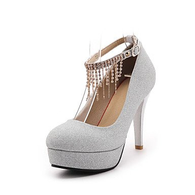 Zormey Fersen Fr¨¹hling Sommer Herbst Winter Club Schuhe Fleece Hochzeit B¨¹ro & Amp Karriere Kleid Stiletto Heel Strass Schnalle Chainblack Rot Silber US5 / EU35 / UK3 / CN34