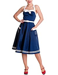 Hell Bunny Damen Kleid SIREN DRESS navy